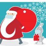 Santa wearing a protective mask — Stock Vector