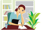 Girl in the office — Stock Vector