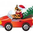 Royalty-Free Stock Vector Image: New year tiger in red car