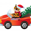 New year tiger in red car — Stock Vector