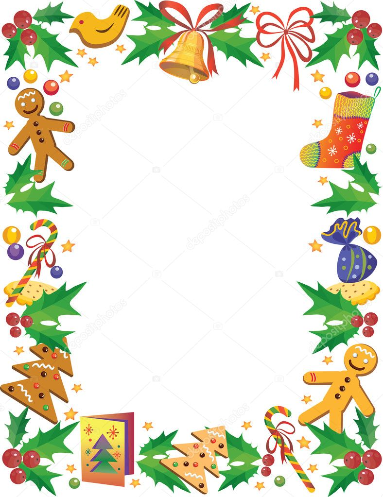 Decorative frame with sweets and other symbols of Christmas — Stock Vector #1493429