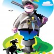 Hunter with a rifle and dog — Imagen vectorial