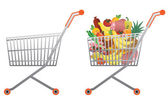 Full and empty shopping cart — Stock Vector
