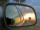 Car Mirror Reflection — Stock Photo