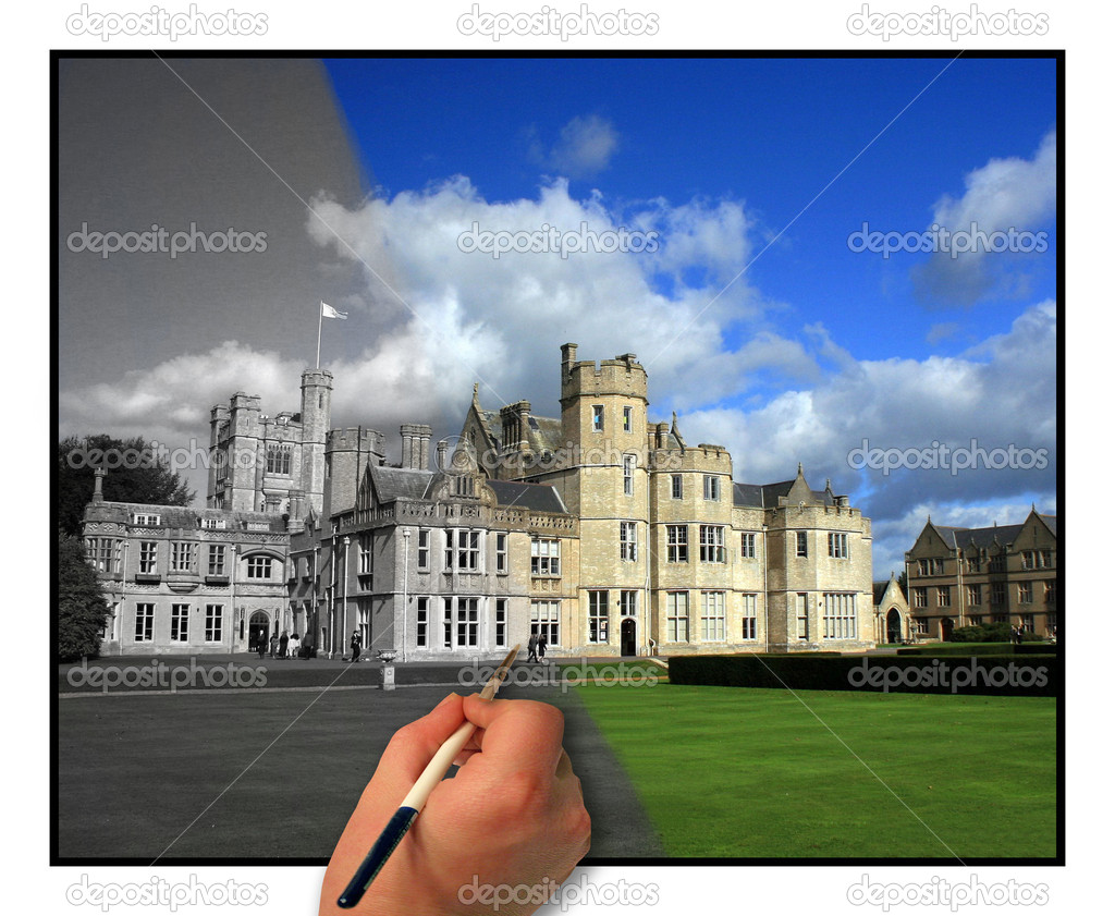 The building is a top school in the UK. The hand appears to be painting the photo. — Stok fotoğraf #1374929