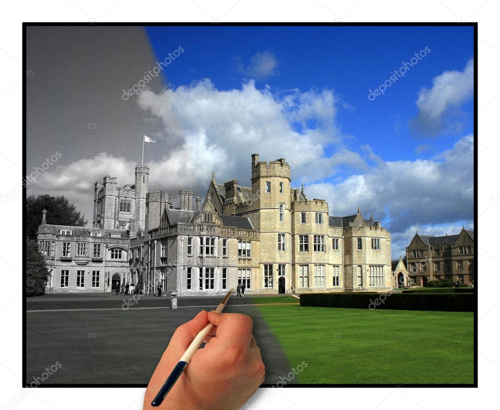 The building is a top school in the UK. The hand appears to be painting the photo. — Lizenzfreies Foto #1374929
