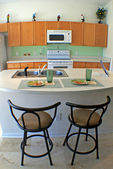 Kitchen with Bar Stools — Stock Photo