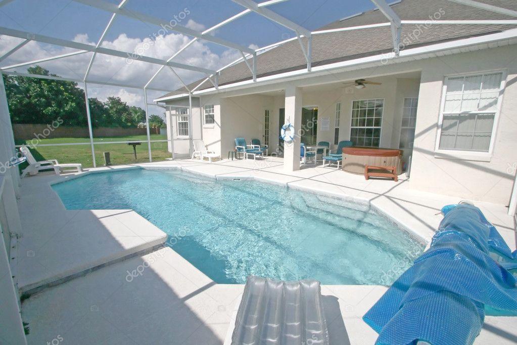Swimming pool and lanai stock photo quackersnaps 1410030 for Pool lanai cost