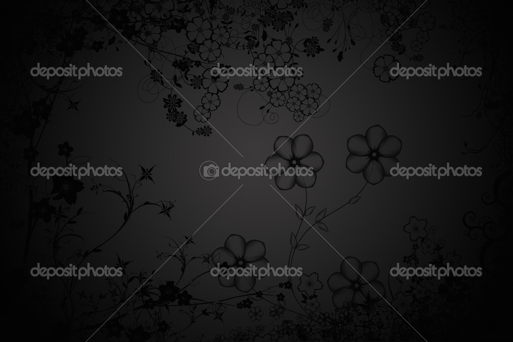 Black background flower ornament oriental  Stock Photo #1340392