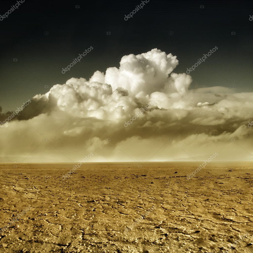 Desert with cumulus clouds at horizon — Stock Photo #2504294