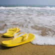 Beach slippers on a sandy beach, summer - Stockfoto