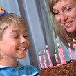 Boy in his birthday, mum and son — Stock Photo