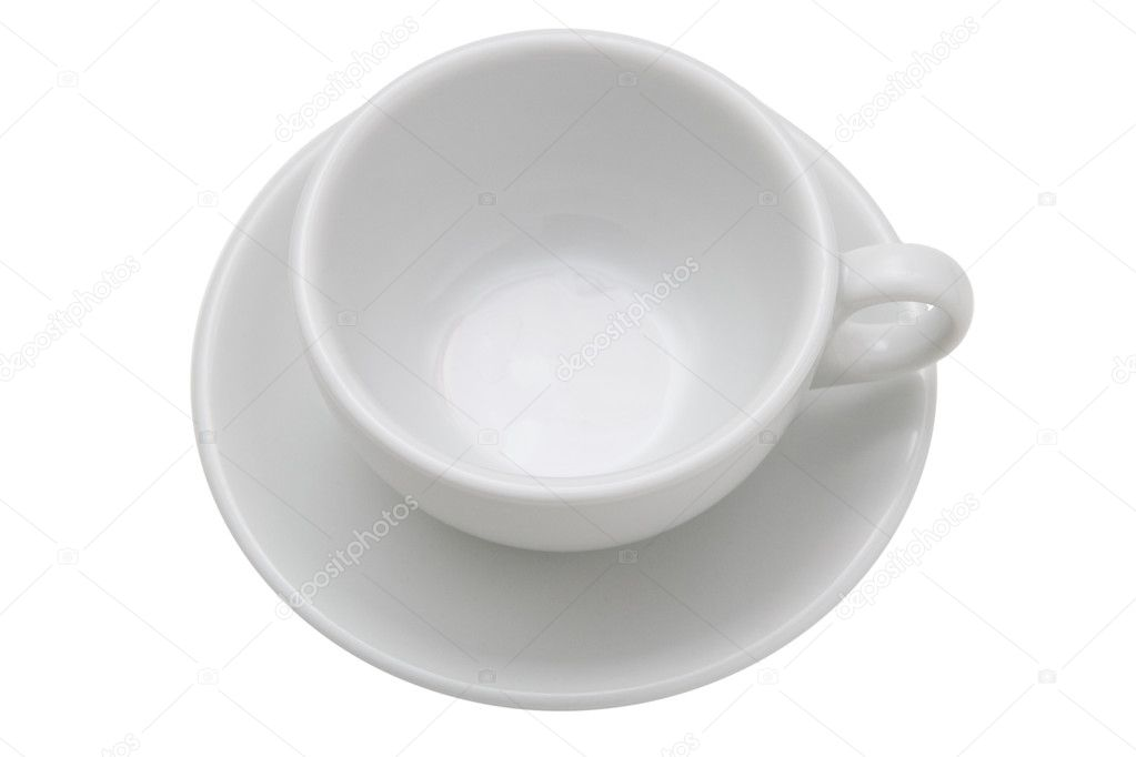 Empty white tea cup and saucer — Stock Photo ...