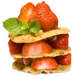 Strawberries dessert with waffles — Stock Photo