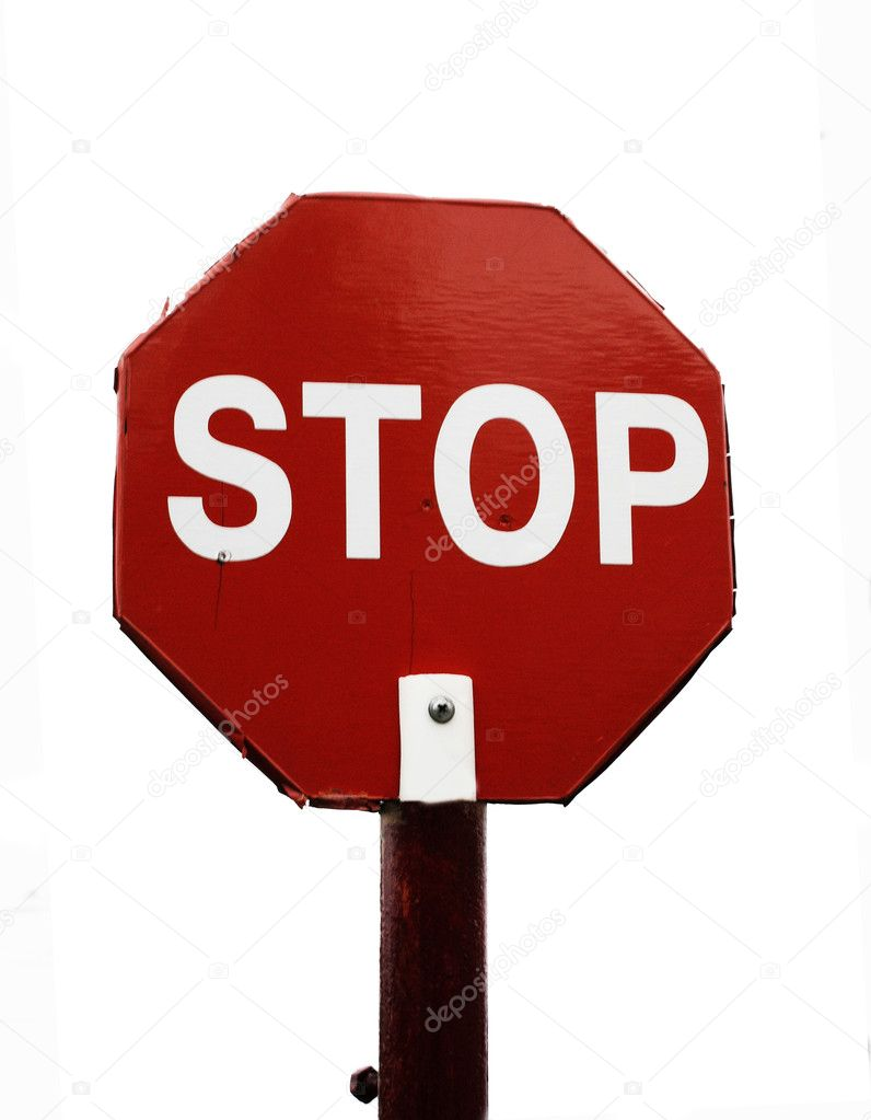 Road sign STOP isolated on white background  Stock Photo #1341952