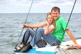 Couple on the yacht — Stock Photo