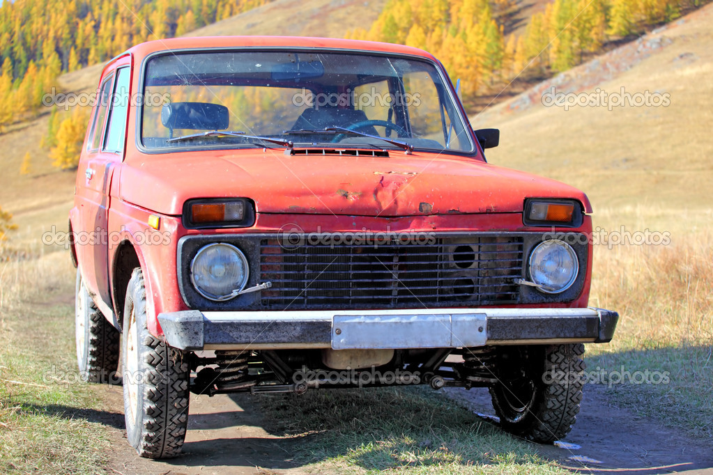 Old russian off-road car on altai  Stock Photo #1369226