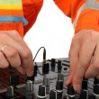 Dj hand work — Stock Photo