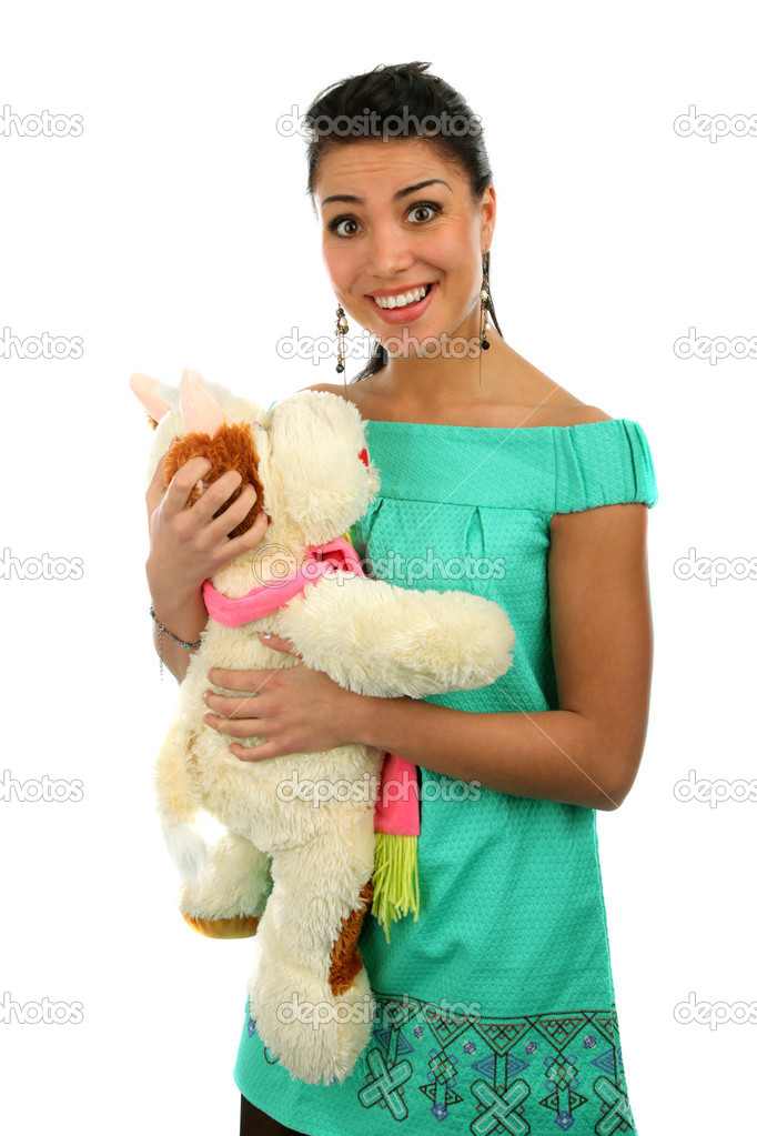 Smiling  girl  with teddy on white background  Stock Photo #2080266