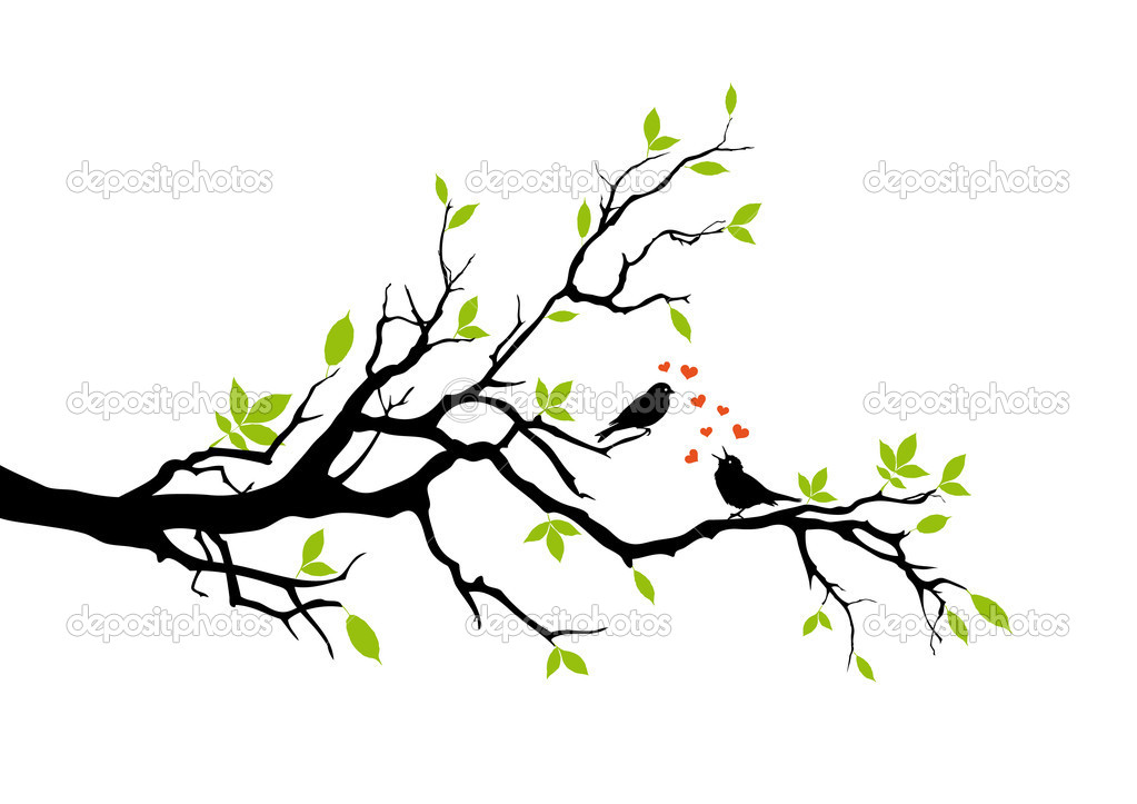 Birds on tree branch, vector — Imagen vectorial #1335226