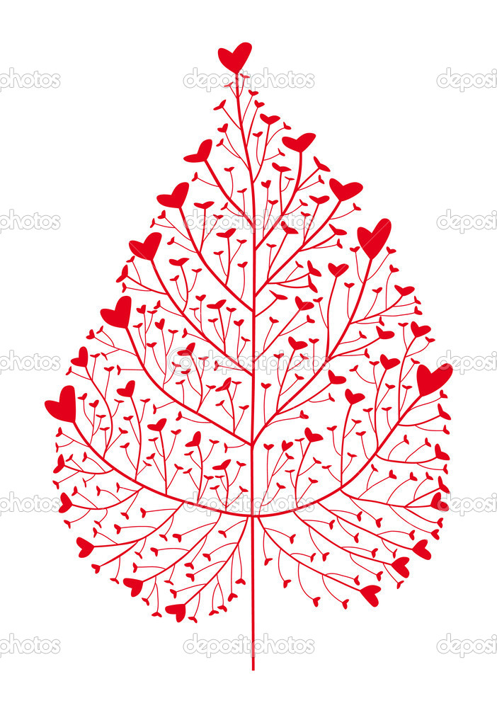 Heart tree, leaf silhouette, vector — Stockvektor #1335241