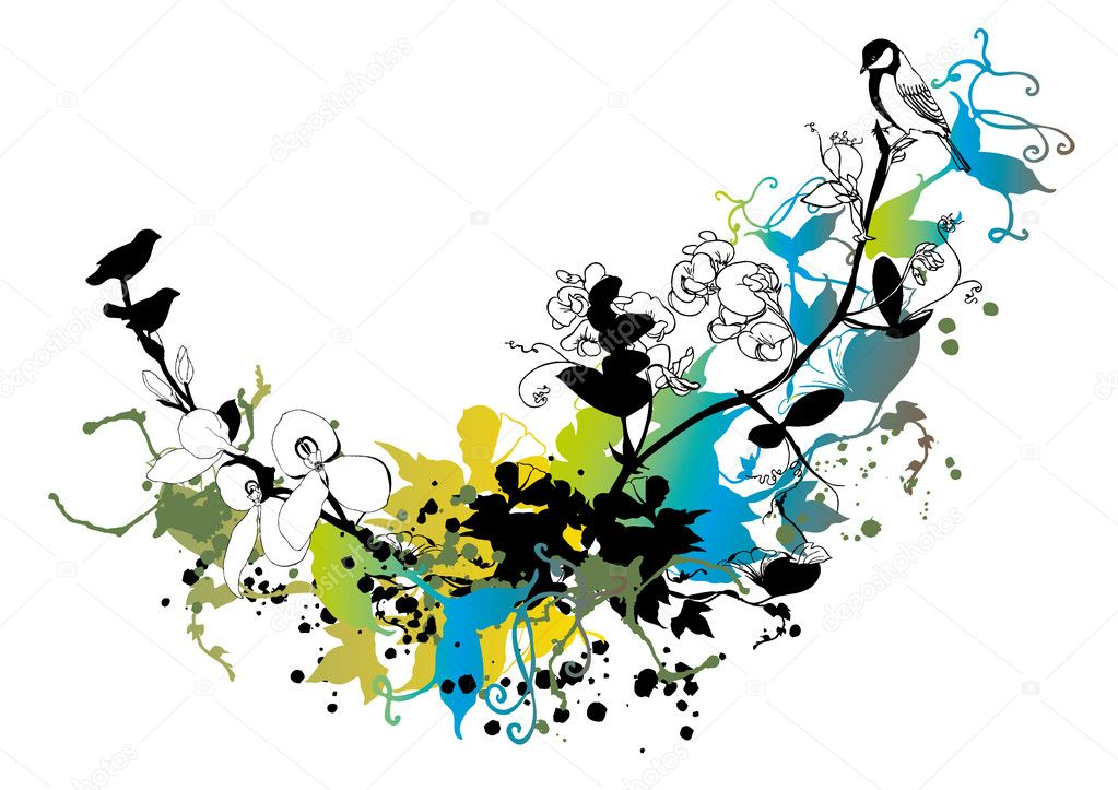 Abstract floral background, vector — Stockvectorbeeld #1335243