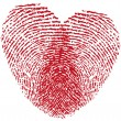 Fingerprint heart, vector - Stok Vektör