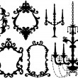 Picture frames and chandelier, vector — Stok Vektör