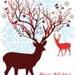 Christmas deer, vector — Stock Vector