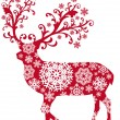Christmas deer, vector — Vector de stock #1402953