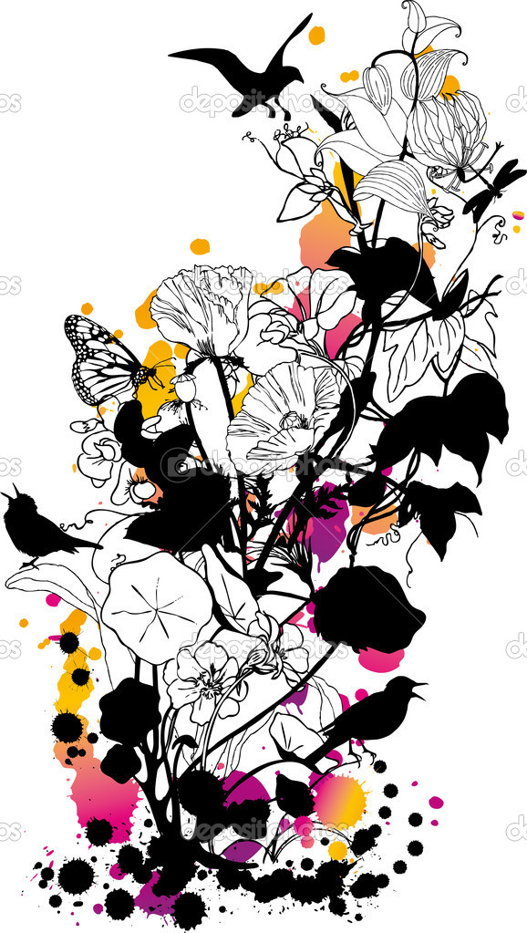 Abstract floral background with birds and butterflies — Imagen vectorial #1402591