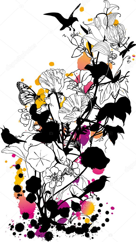 Abstract floral background with birds and butterflies — Stockvectorbeeld #1402591