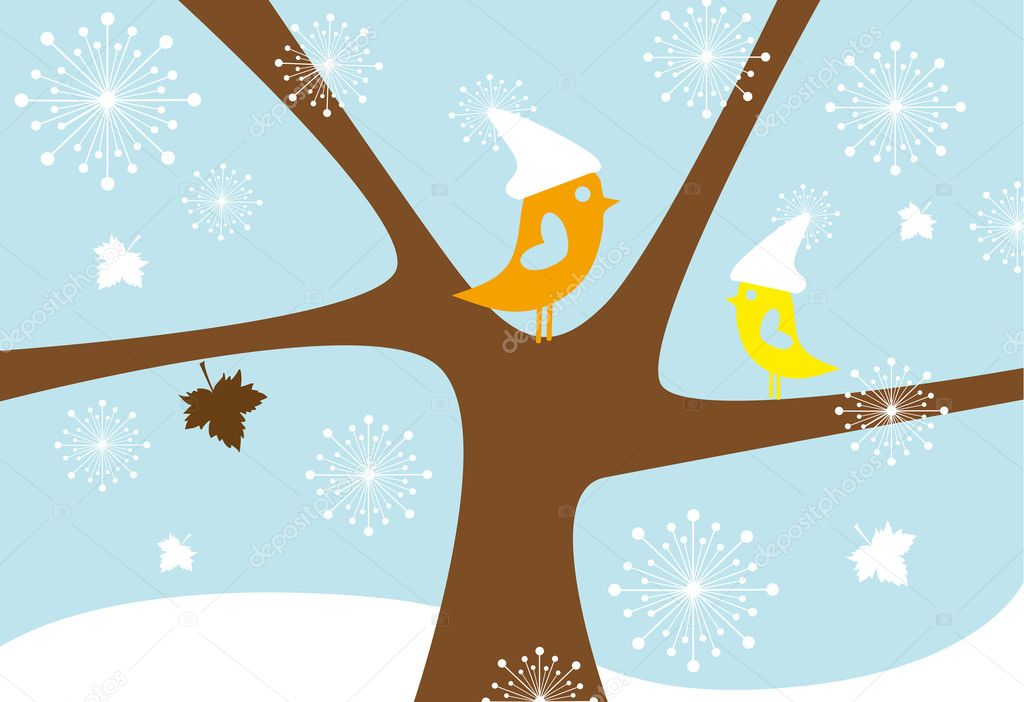 Birds sitting on tree in winter, vector — ベクター素材ストック #1402613