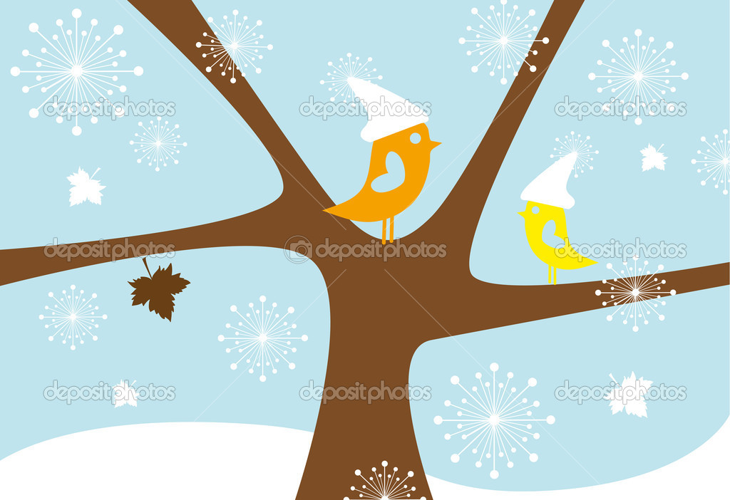 Birds sitting on tree in winter, vector  Imagens vectoriais em stock #1402613