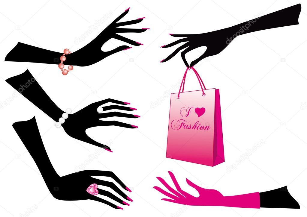 Female hands with jewels and shopping bag, vector — Stock Vector #1402683