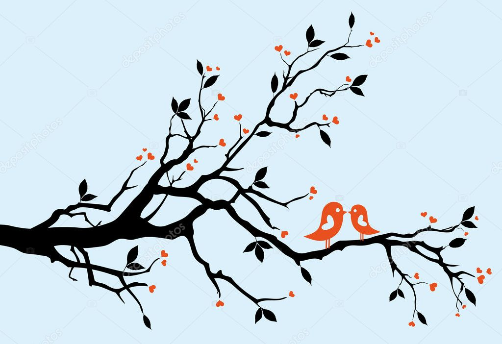 Birds kissing on a branch, vector background — Векторная иллюстрация #1402686