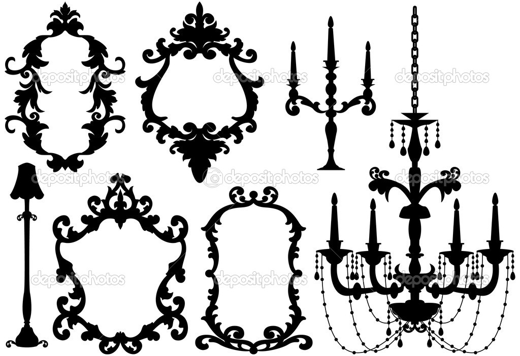 Antique picture frames and crystal chandelier silhouette, vector  Stock Vector #1402823