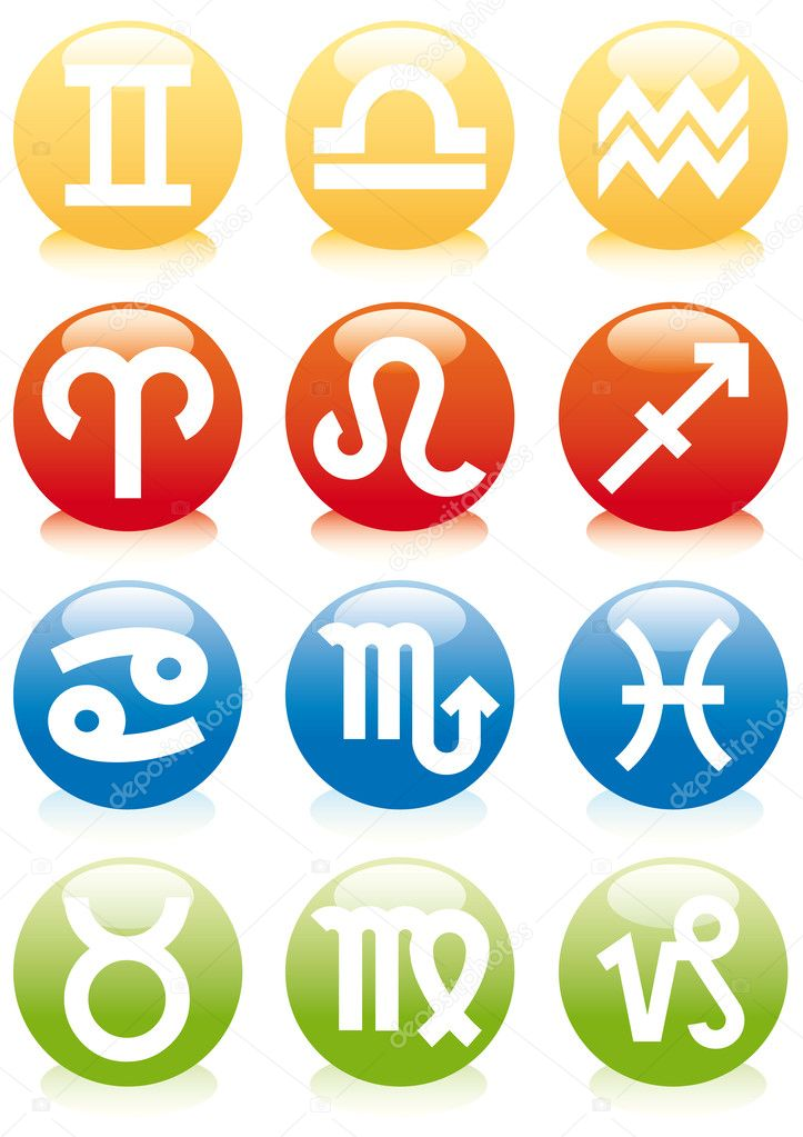Set of zodiac astrology icons for horoscope, vector — Stock Vector #1402834