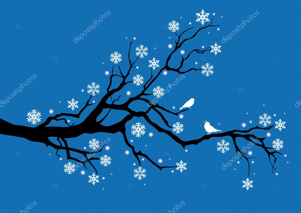 Winter tree with snowflakes and birds, vector — Stock Vector #1402852