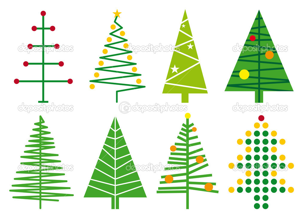 Set of simple christmas tree designs, vector  Stock Vector #1402928