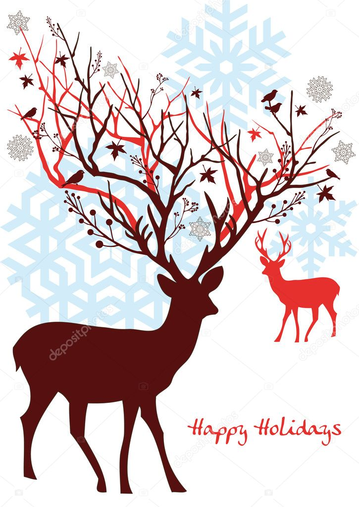Christmas deer with snowflakes, vector — Imagen vectorial #1402945