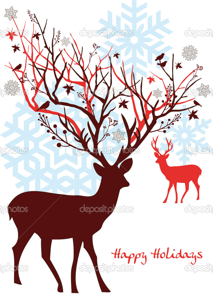 Christmas deer with snowflakes, vector  Vettoriali Stock  #1402945