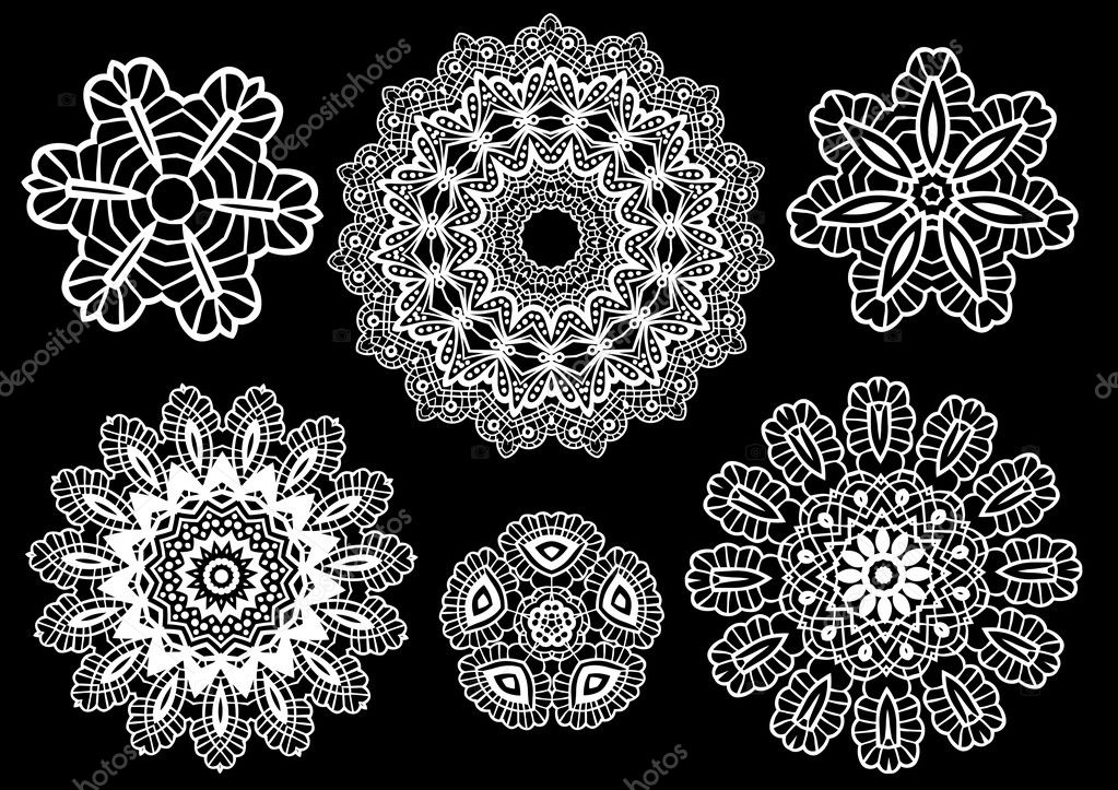 Delicate lace doilies, vector pattern — Stock Vector #1403307