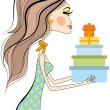 Woman with gift boxes, vector — Stock Vector