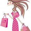 Stock Vector: Womwith shopping bags, vector