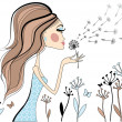 Woman with dandelion, vector — Stock Vector
