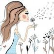 Woman with dandelion, vector — Stock Vector