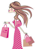 Donna con borse della spesa, vettoriale — Vettoriale Stock