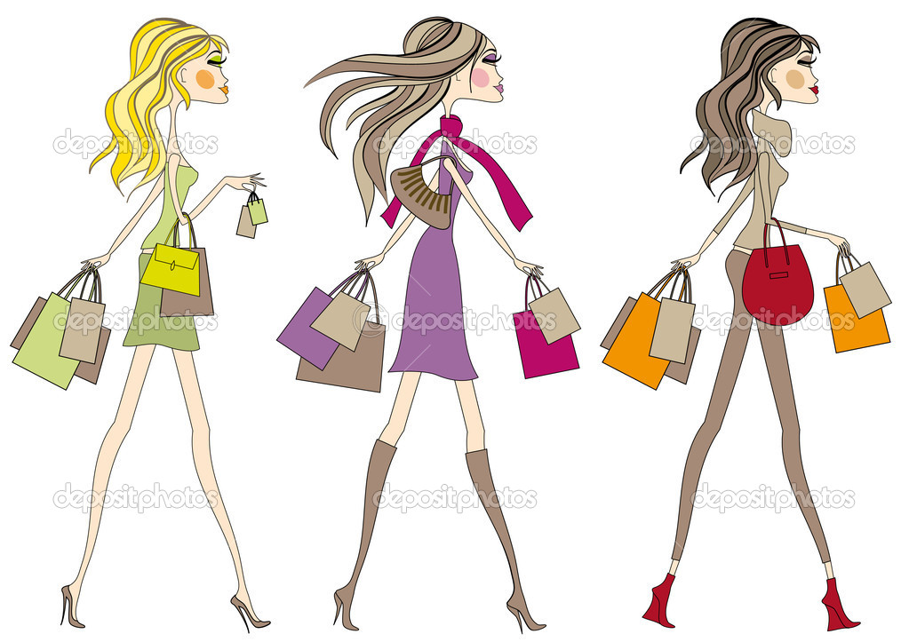  Fashion girls walking with shopping bags, vector  Stock Vector #1447611