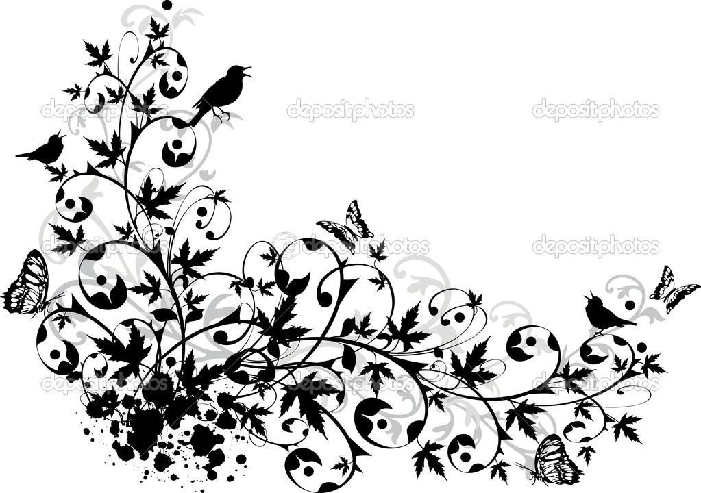 Ornamental garden with birds, vector  Vektorgrafik #1447628